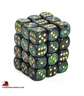 Chessex: Scarab 12mm d6 Jade/Gold dice set (36)