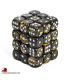 Chessex: Leaf 12mm d6 Black Gold/Silver dice set (36)