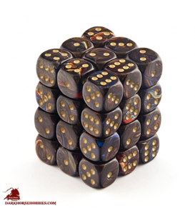 Chessex: Scarab 12mm d6 Blue Blood/Gold dice set (36)