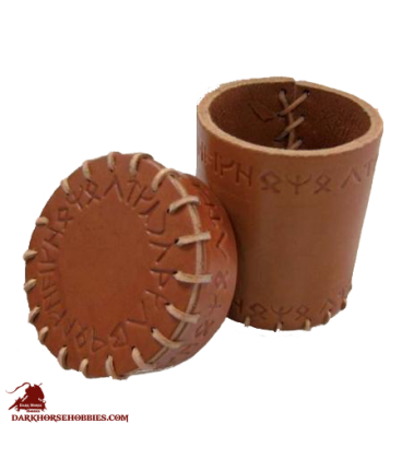 Runic Leather Dice Cup Brown