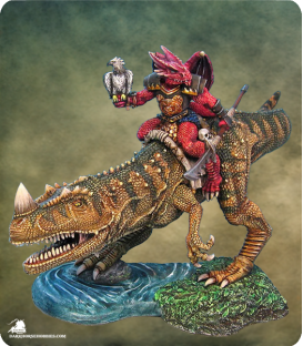 Visions in Fantasy: The Hunter - Draconid with Dino Mount (painted by Eric Louchard)