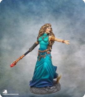 Visions in Fantasy: Female Mage with Staff (painted by Jessica Rich)