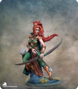 Visions in Fantasy: Female Ranger with Bow (painted by Jessica Rich)