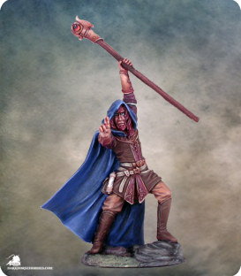 Visions in Fantasy: Male Mage with Staff (painted by Matt Verzani)