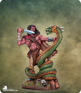 Visions in Fantasy: Male Barbarian Fighting Snake Beast (painted by Matt Verzani)