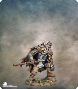 Visions in Fantasy: Male Dwarven Fighter with Axe and Wine Skin (painted by Matt Verzani)