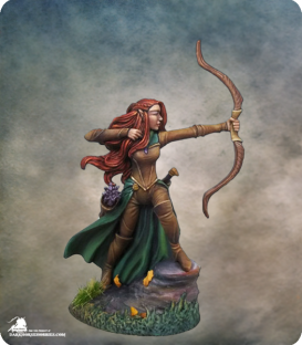 Visions in Fantasy: Female Elven Ranger with Bow (painted by Jessica Rich)