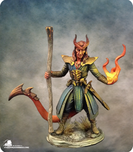 Visions in Fantasy: Male Demonkin Fighter/Mage (painted by Kat Martin)
