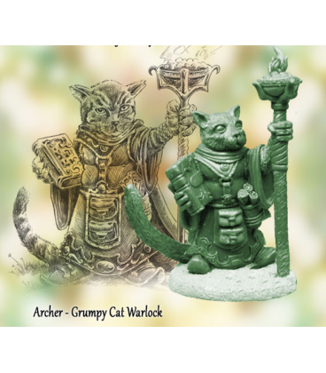 Critter Kingdoms: Archer - Grumpy Cat Warlock (master sculpt by Dave Summers)