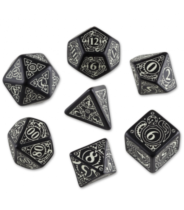 Black-glow in the dark Steampunk dice set