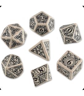Beige-Black Steampunk dice set