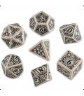Steampunk Beige-Black Polyhedral Dice Set (7)