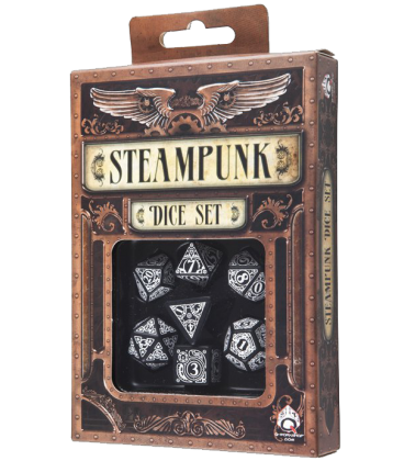 Black-white Steampunk dice set