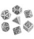 Steampunk White-Black Polyhedral Dice Set (7)