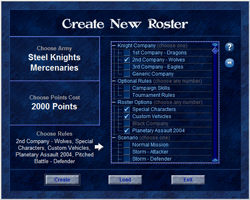 New Roster form, showing custom rules selection