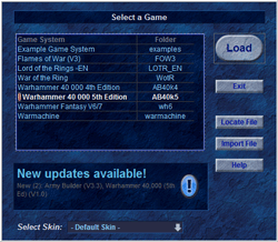 Select Game Form, with notification of new updates
