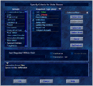 Filter mechanism allows you to show only units you want to see
