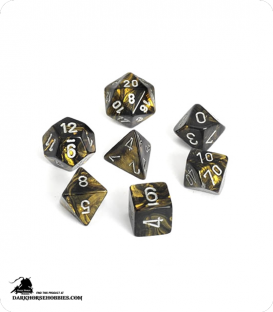 Chessex: Leaf Black Gold/Silver Polyhedral dice set