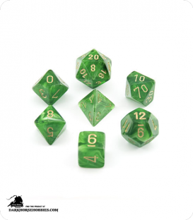 Chessex: Vortex Green/Gold Polyhedral dice set