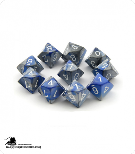 Chessex: Gemini Blue Steel/White d10 dice set