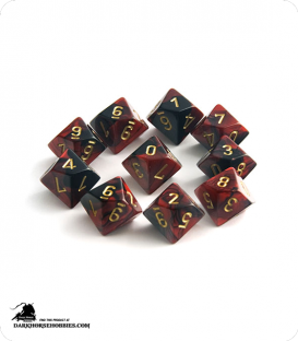Chessex: Gemini Black Red/Gold d10 dice set