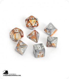 Chessex: Gemini Copper Steel/White Polyhedral dice set