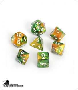 Chessex: Gemini Gold Green/White Polyhedral dice set