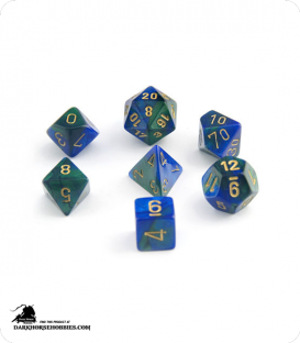 Chessex: Gemini Blue Green/Gold Polyhedral dice set