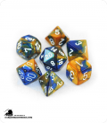 Chessex: Gemini Blue Gold/White Polyhedral dice set (7)