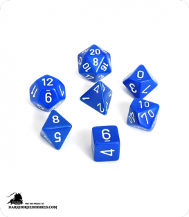 Chessex: Opaque Blue/White Polyhedral dice set