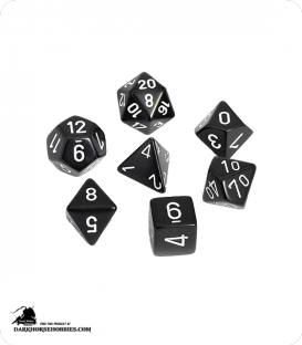 Chessex: Opaque Black/White Polyhedral dice set