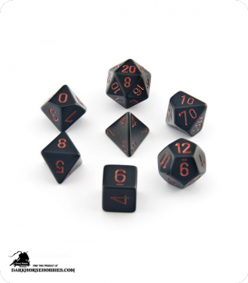 Chessex: Opaque Black/Red Polyhedral dice set
