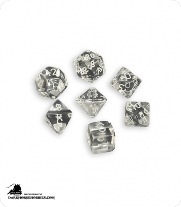 Chessex: Translucent Clear/White Polyhedral dice set