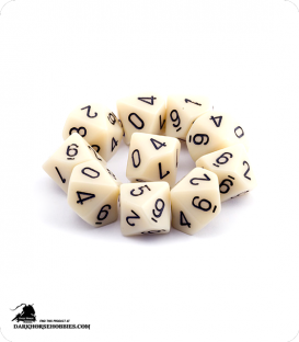 Chessex: Opaque Ivory/Black d10 dice set