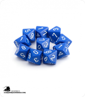 Chessex: Opaque Blue/White d10 dice set