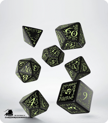 Elven Black-Glow in the Dark Polyhedral dice set