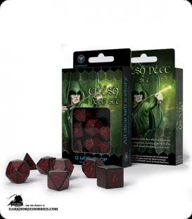 Elven Black-Red Polyhedral dice set