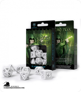 Elven White-Black Polyhedral dice set
