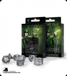Elven Translucent-Black Polyhedral dice set