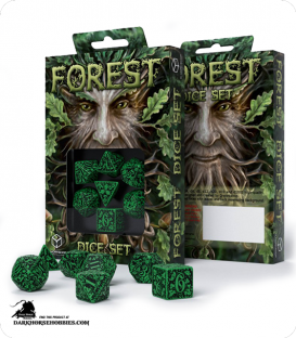 Forest Green-Black Polyhedral dice set