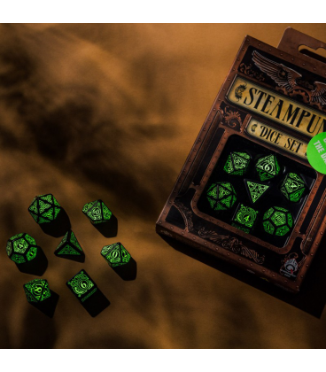 Steampunk Black-Glow in the Dark Polyhedral Dice Set