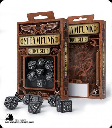 Steampunk Black-White Polyhedral Dice Set