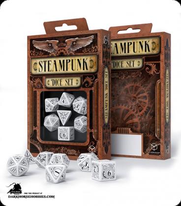 Steampunk White-Black Polyhedral Dice Set