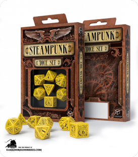 Steampunk Yellow-Black Polyhedral Dice Set
