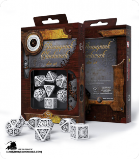 Steampunk Clockwork White-Black Polyhedral Dice Set