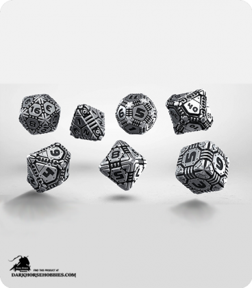 Tech Metal-Black Polyhedral Dice Set