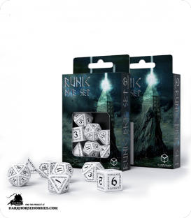 Runic White-Black Polyhedral dice set