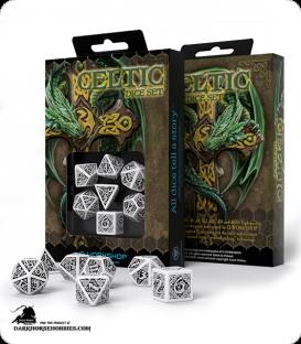 Celtic 3D Revised White-Black Polyhedral dice set