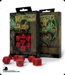 Celtic 3D Revised Red-Black Polyhedral dice set