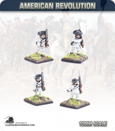 10mm American Revolution: Continentals in Hunting Shirts - Marching (painted by Andy Mac)